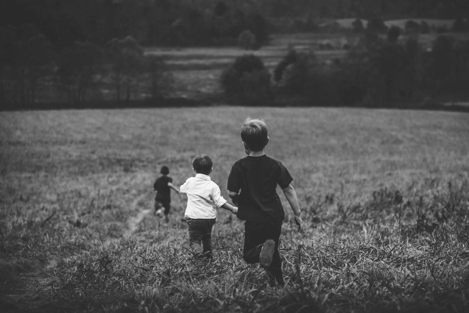 Children playing in fields in summer